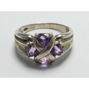 Women's Sterling Silver 925 Ring with Purple Stone
